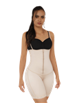 Open Bust Mid-thigh Body Shapewear w/ Front Zipper & Hook and Eye